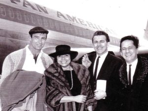 """The Mary Kaye Trio with Sean Connery flying to London to appear at the """" Talk of the Town """"."""