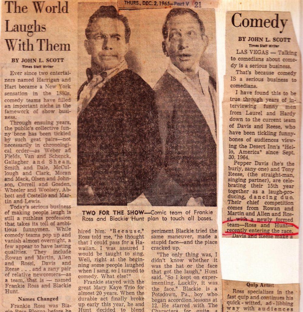 Ross & Hunt Review - LA Times