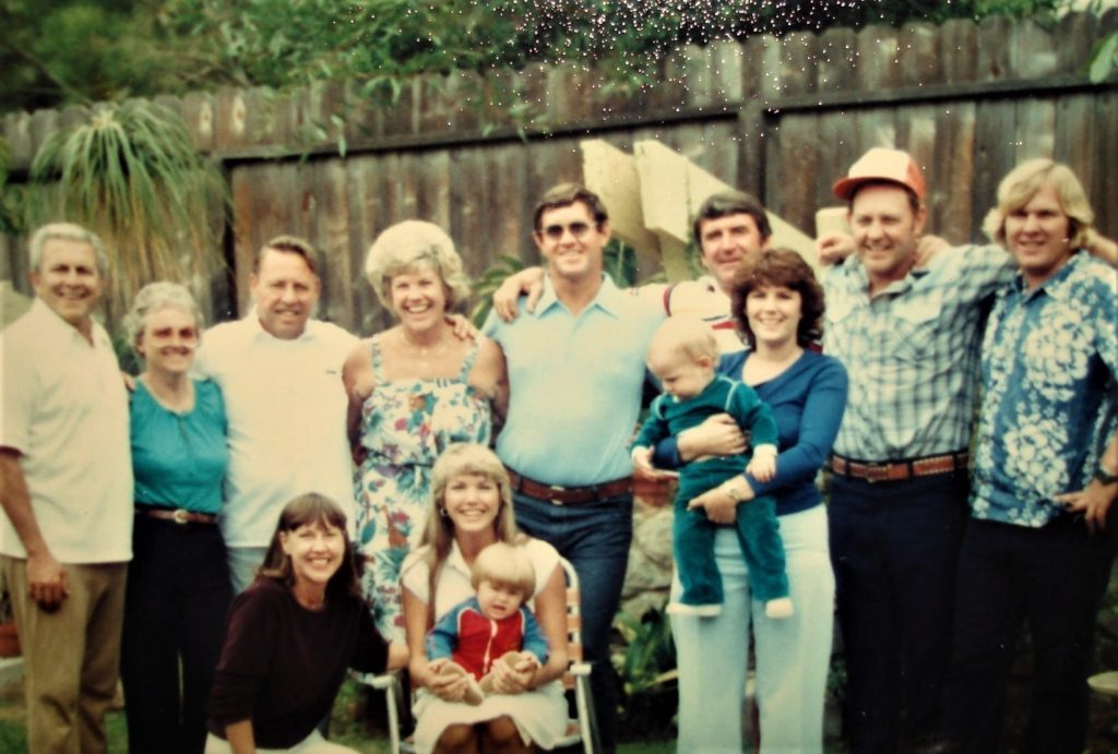 Family 1983-Frank,Maude, Jim, Imo, Don, Eric, Tom, Rusty  ..Front row- Betty, Sheri  & Eric, Stephanie & Ryan